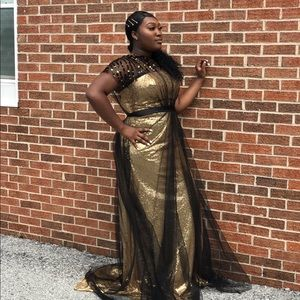Black & Gold Evening Dress